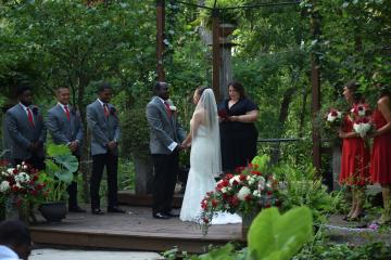 wedding in the shaded woods